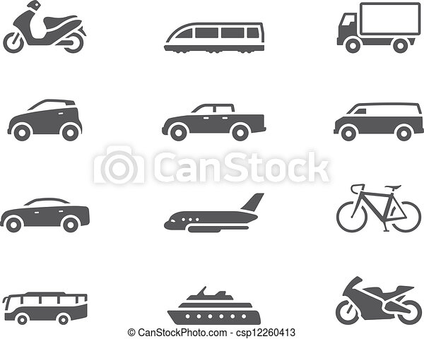 -, bw, transport, icônes - csp12260413