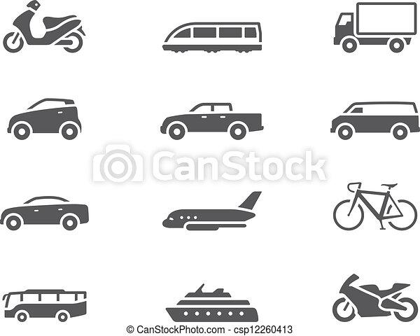 -, bw, transporte, ícones - csp12260413