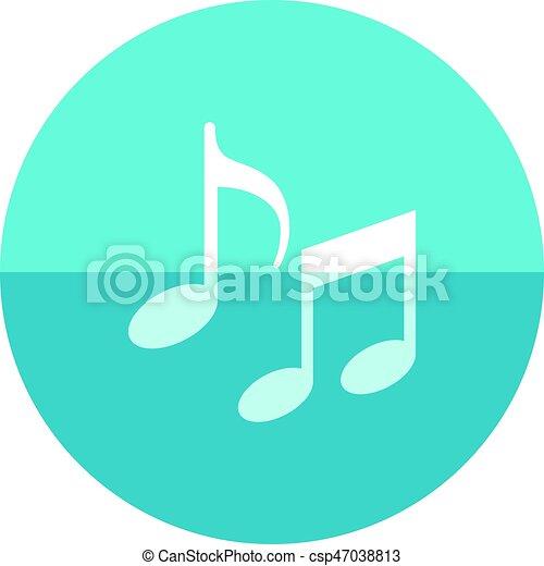 círculo, música nota, icono. Plano, color, notas, quaver, señal ...