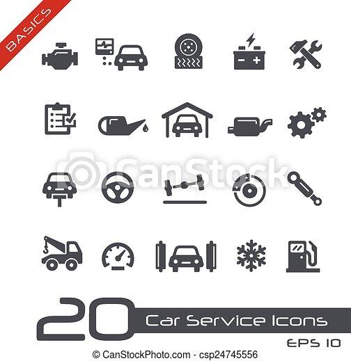 --, car, básico, serviço, ícones - csp24745556