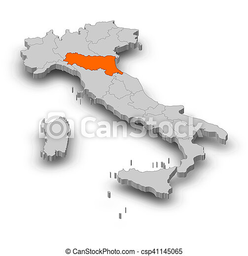 Carte Italie Emilia Romagna.Carte 3d Illustration Emilia Romagna Italie