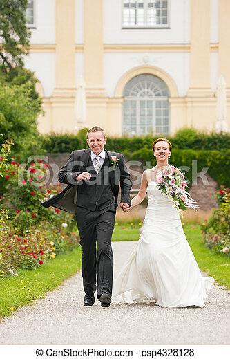 -, casório, noivo, parque, noiva - csp4328128