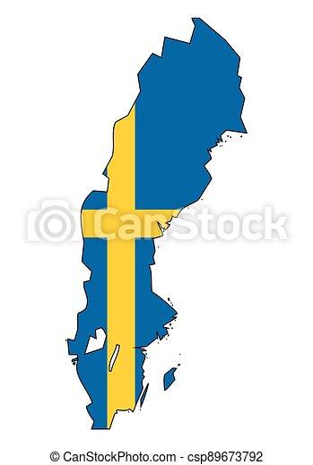 -, celostátní mapovat, nárys, state flag, švédsko - csp89673792