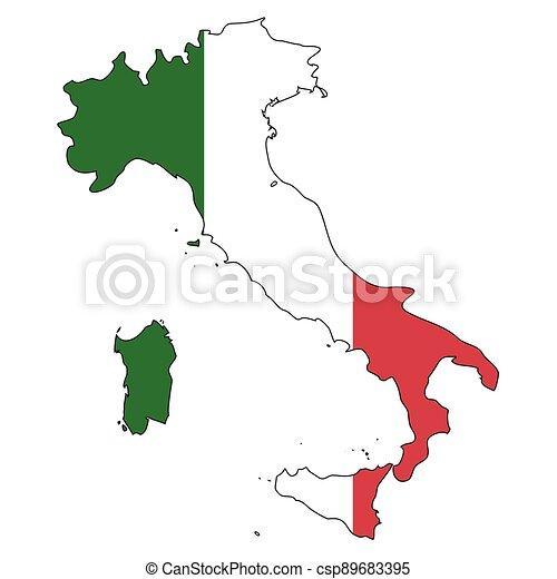 -, celostátní mapovat, nárys, state flag, itálie - csp89683395