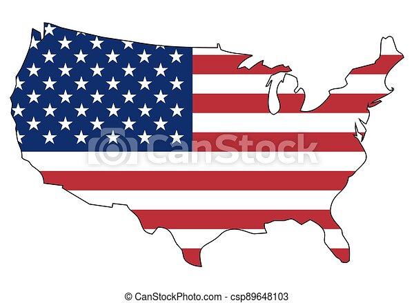 -, celostátní mapovat, nárys, udat, postavení, prapor, amerika, sjednocený - csp89648103