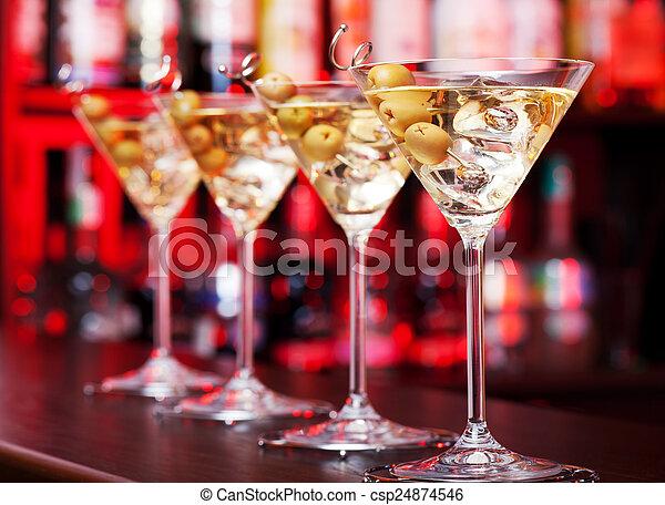 -, cocktail, collezione, martini - csp24874546