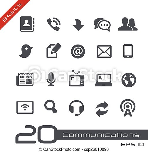 --, communicatie, set, grondbeginselen, pictogram - csp26010890