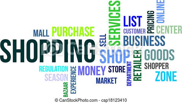 Nube de palabras, compras - csp18123410