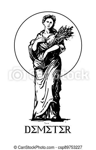 -, demeter, neposkvrněný, sklízet, starobylý, řečtina, náboženství, grafické pozadí, zemědělství, vektor, bohyně, ilustrace - csp89753227