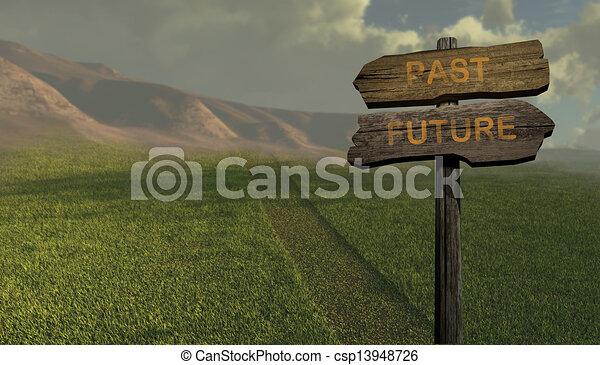 -, direzione, futuro, segno, passato - csp13948726
