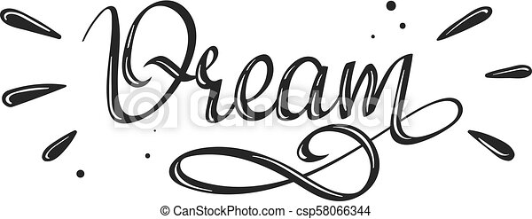 - Dream - handwritten lettering word - csp58066344