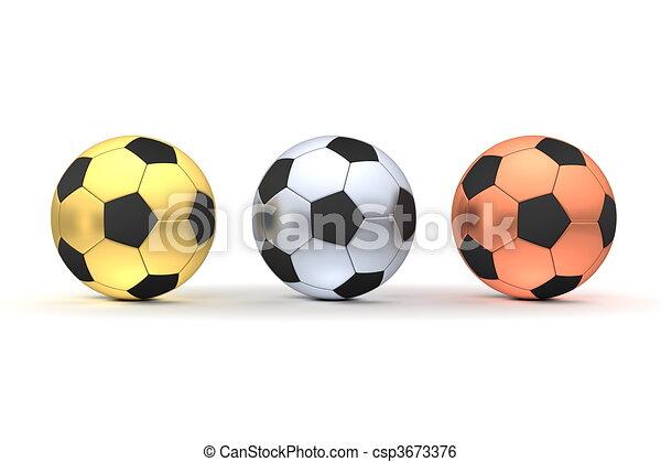 -, drei, gold, fußbälle, silber, bronze, reihe - csp3673376