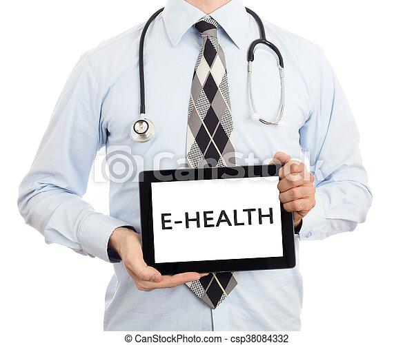 -, e-health, vasthouden, tablet, arts - csp38084332