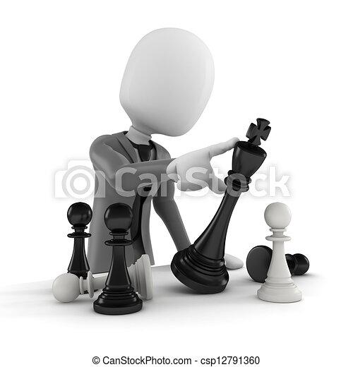 Tercer hombre empujando una figura de ajedrez, concepto de negocios y estrategia - csp12791360
