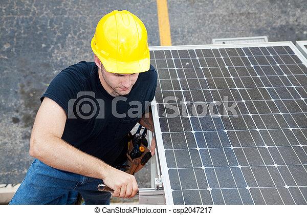 -, energia, eletricista, solar, trabalhando - csp2047217