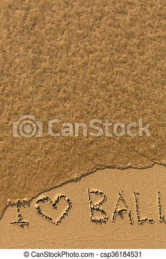 Escrito Amor Bali Frase Amor Bali Playa Mano Escrita