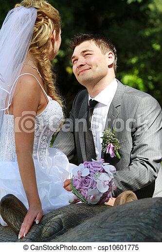 -, esküvő, lovász, liget, menyasszony - csp10601775