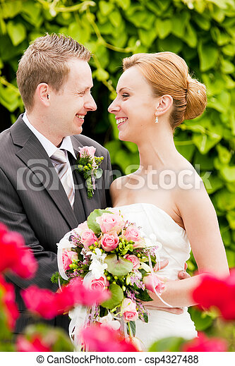 -, esküvő, lovász, liget, menyasszony - csp4327488