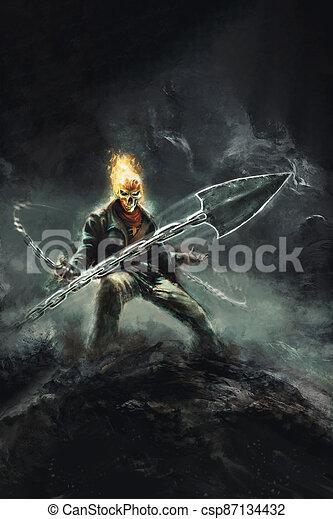 -, fantazie, ilustrace, žnec, lebka, hrozný, hořící, řetěz - csp87134432