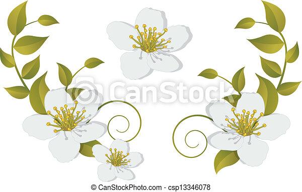 -, fleurir, éléments, conception, branche - csp13346078