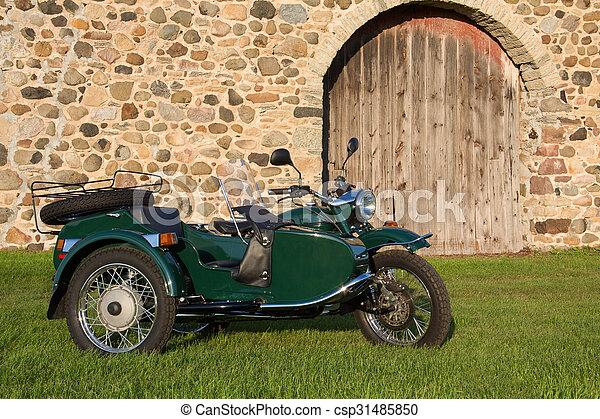 -, fondo, rustico, motocicletta, sidecar - csp31485850