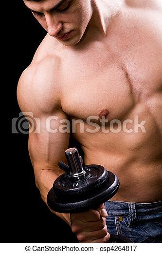 -, fuerte, muscular, culturista, pesas, acción, elevación, hombre - csp4264817