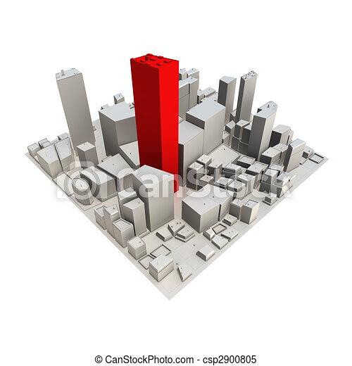 -, gratte-ciel, cityscape, modèle, rouges, 3d - csp2900805