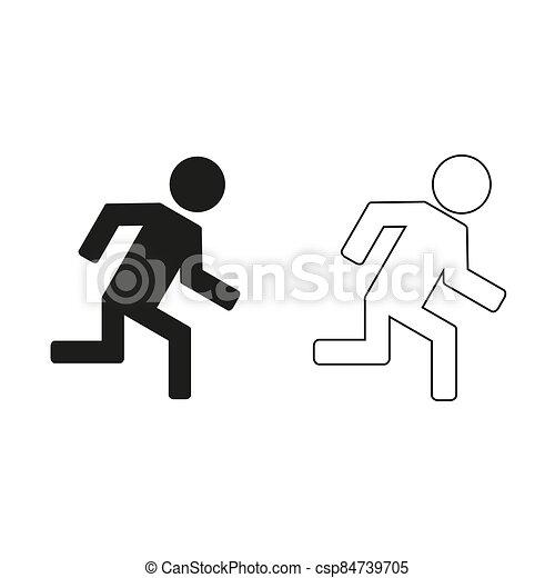 -, groene, rennende , man, vector, pictogram - csp84739705