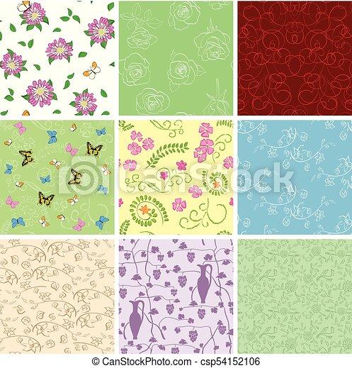 Florale Hintergründe mit Blumen - Vektor nahtlose Muster - csp54152106