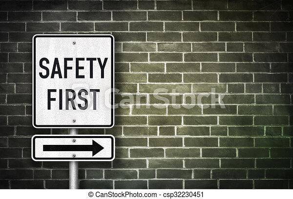 -, illustration, signe, sécurité, route, premier - csp32230451