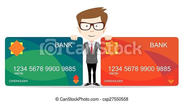 -, ilustración, vector, banco, tenencia, tarjeta, hombre - csp27550558
