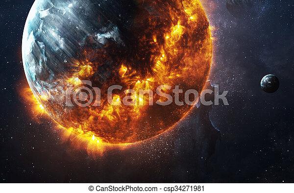 -, image, planète, éléments, brûlé, fond, ceci, apocalyptique, meublé, nasa, résumé, exploser - csp34271981