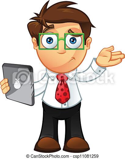 -, incertain, tablette, homme affaires - csp11081259