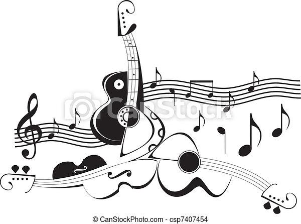 Instrumentos musicales, vector ilustrado - csp7407454