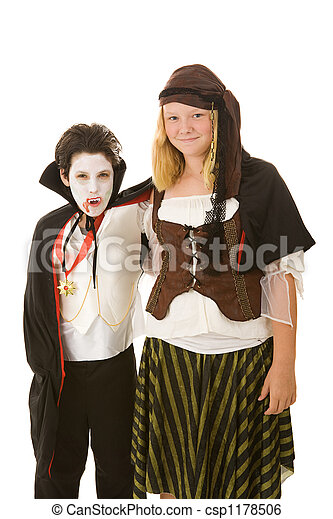 -, irmão, dia das bruxas, irmã, crianças - csp1178506