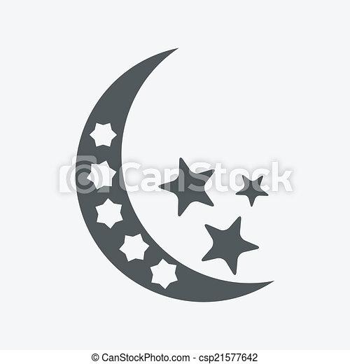 -, isolé, lune, vecteur, étoiles, nuit, icône - csp21577642