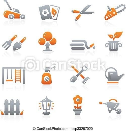 --, jardinagem, ícones, grafita, série - csp33267020
