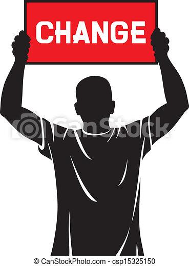 Un joven sosteniendo una pancarta, cambio - csp15325150