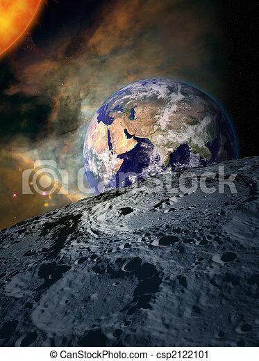 -, la terre, lune, espace - csp2122101