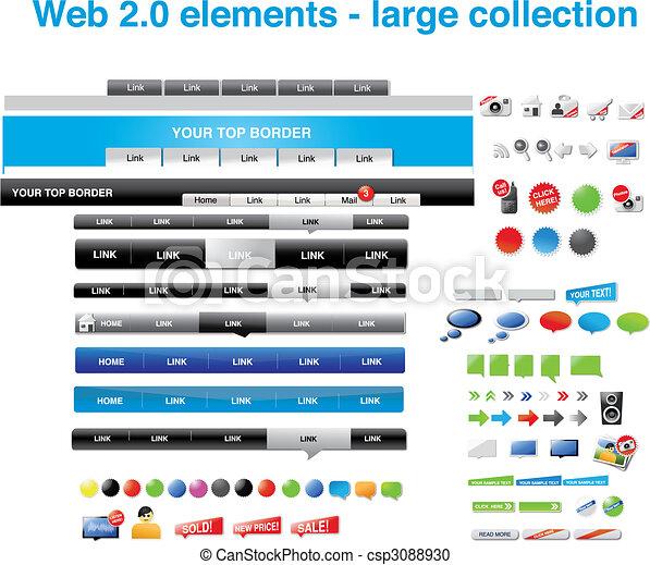 Elementos web 2.0: gran colección - csp3088930