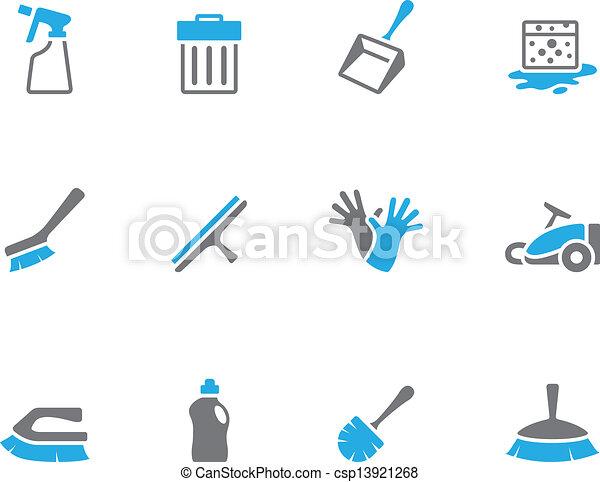 Duo tonos iconos - herramientas de limpieza - csp13921268