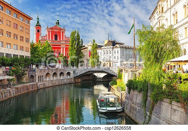-, ljubljanica), スロベニア, ljubljana, 川, (church - csp12626558