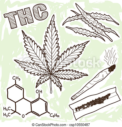 -, marijuana, illustration, narkomanen - csp10550487