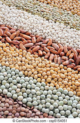 -, mengsel, achtergrond, erwtjes, droog, soybeans, bonen, lentils - csp5154051