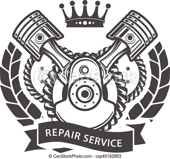-, moteur, service, auto, symbolique, emblème, réparation - csp45162883