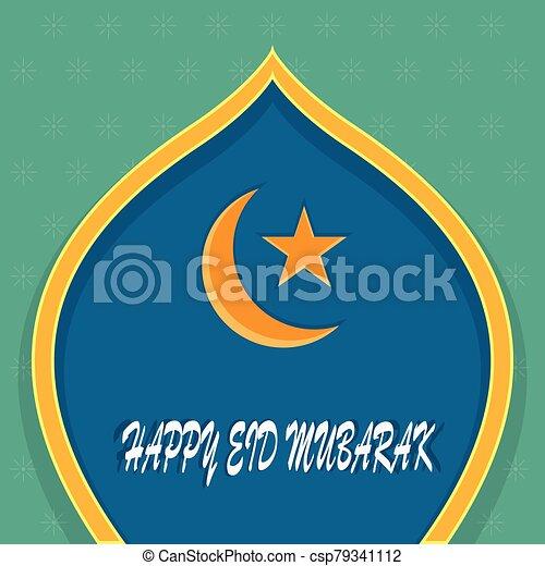 -, mubarak, vector, iliustration, saludos, al-fitr, eid - csp79341112