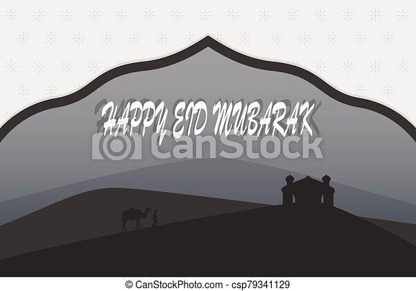 -, mubarak, vector, iliustration, saludos, al-fitr, eid - csp79341129