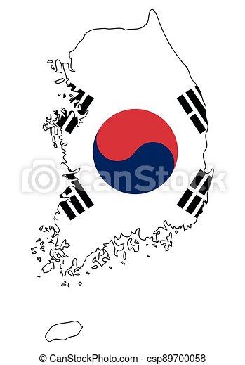 -, národnostní, jih, nárys, mapa, korea, state flag - csp89700058
