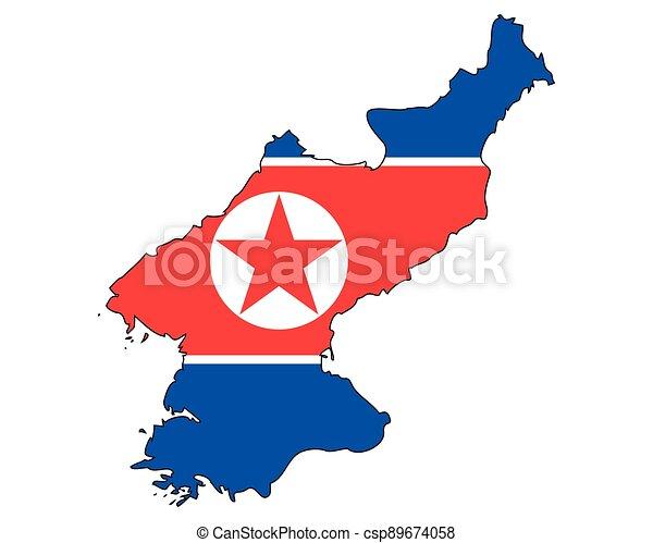 -, národnostní, sever, nárys, mapa, korea, state flag - csp89674058