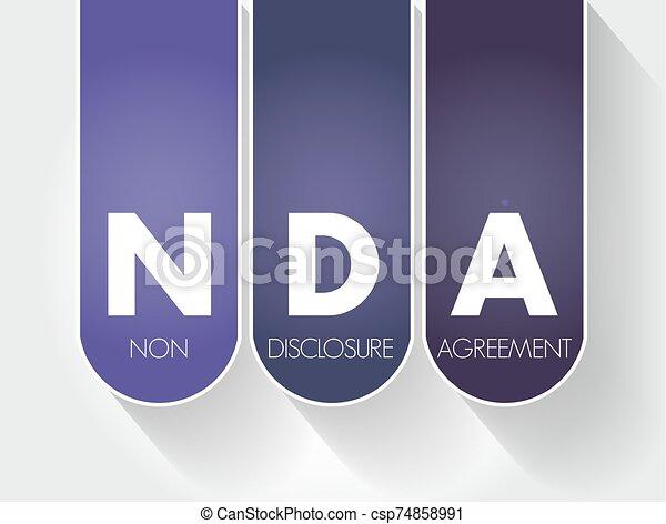 -, nda, acroniem, niet-onthulling, overeenkomst - csp74858991